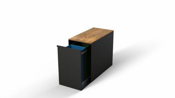 Standaard gelakt met hout | Afvalbak | Vuilnisbak