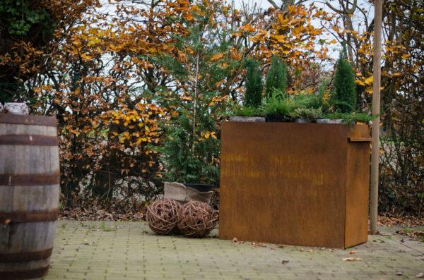 cortenstaal standaard met planten