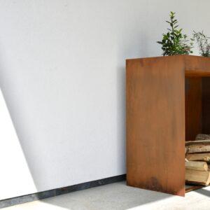 KUJP houtstapelaar cortenstaal met plantenbak