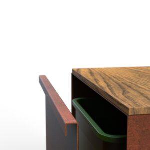 KUJP - Standaard cortenstaal met hout - Open langs de lange zijde